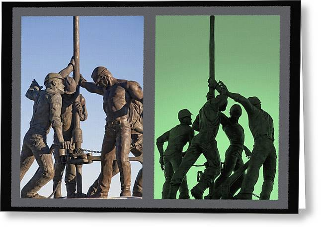 Oil Rig Workers Diptych Greeting Card by Steve Ohlsen