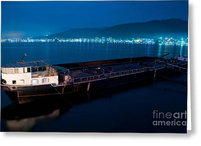 Oil Tanker At Night Greeting Card by Ciprian Kis