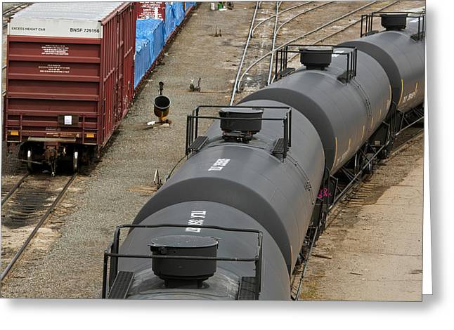 Oil Tankers At A Rail Yard Greeting Card by Jim West