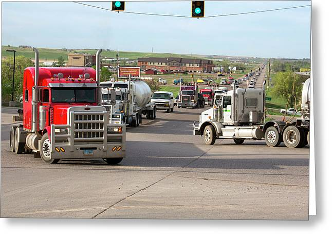 Oil Trucks Greeting Card by Jim West