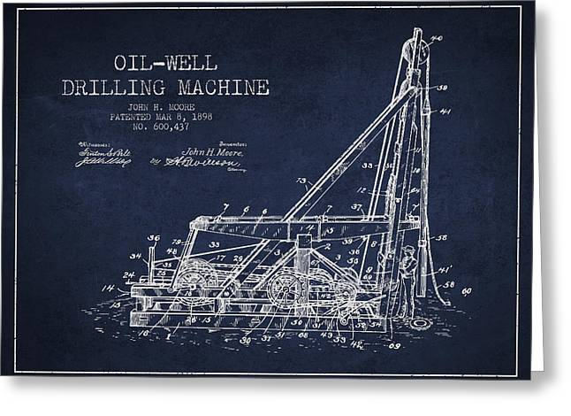 Oil Well Drilling Machine Patent From 1898 - Navy Blue Greeting Card by Aged Pixel