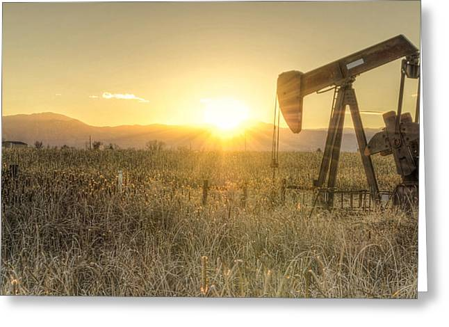 Oil Well Pump Greeting Card by Aaron Spong