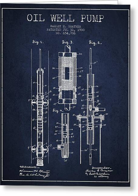 Oil Well Pump Patent From 1900 - Navy Blue Greeting Card by Aged Pixel