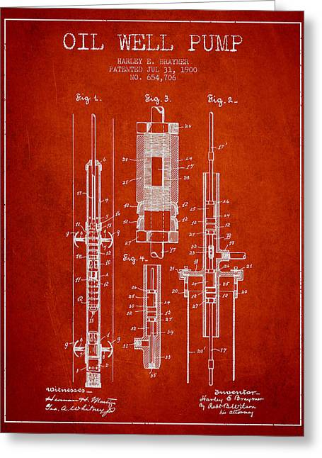 Oil Well Pump Patent From 1900 - Red Greeting Card by Aged Pixel