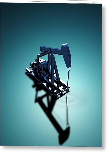 Oil Well Pump Greeting Card by Victor Habbick Visions