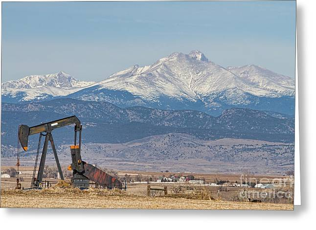 Oil Well Pumpjack And Snow Dusted Longs Peak Greeting Card