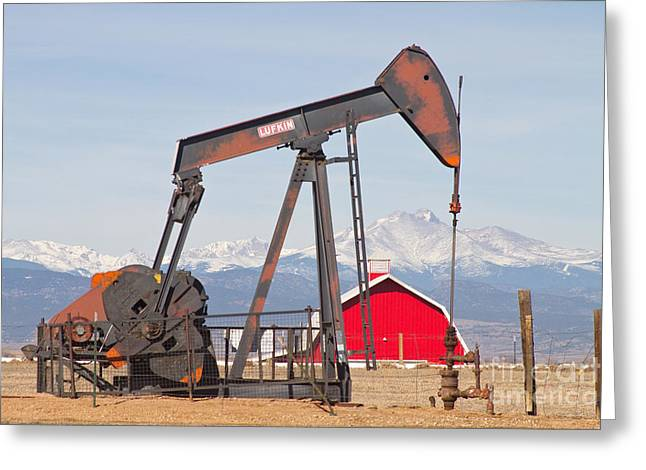 Oil Well Pumpjack Red Barn And Longs Peak Greeting Card