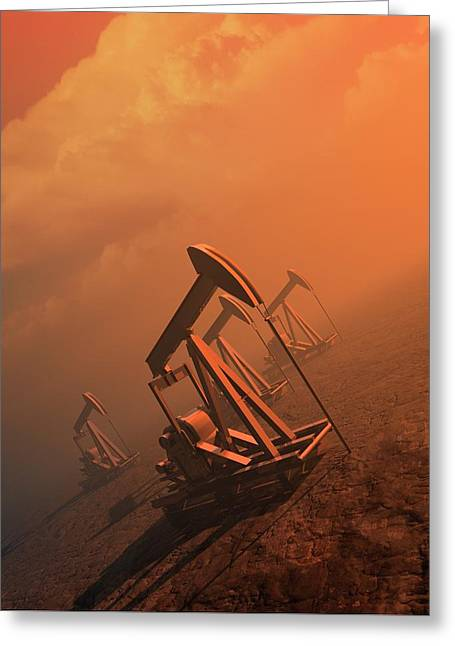 Oil Well Pumps Greeting Card by Victor Habbick Visions