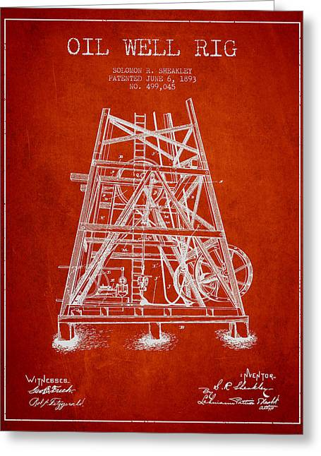 Oil Well Rig Patent From 1893 - Red Greeting Card by Aged Pixel
