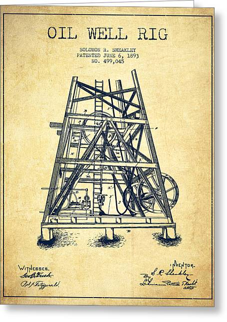 Oil Well Rig Patent From 1893 - Vintage Greeting Card by Aged Pixel