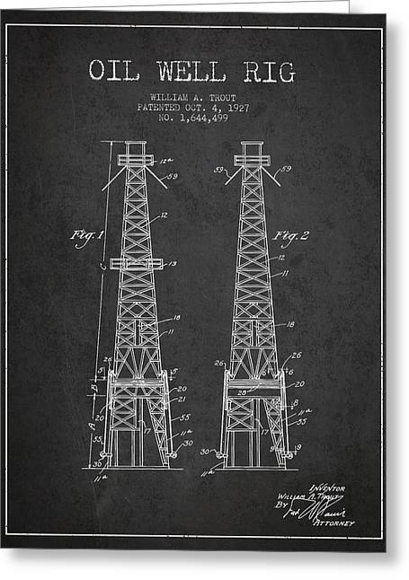 Oil Well Rig Patent From 1927 - Dark Greeting Card by Aged Pixel