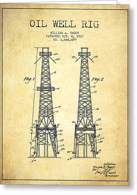 Oil Well Rig Patent From 1927 - Vintage Greeting Card by Aged Pixel