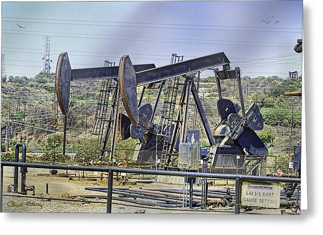 Oil Wells Pumping Greeting Card