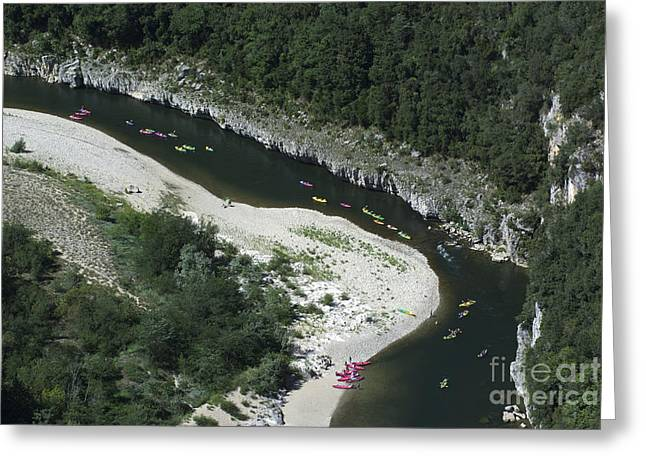 oing down Ardeche River on canoe. Ardeche. France Greeting Card