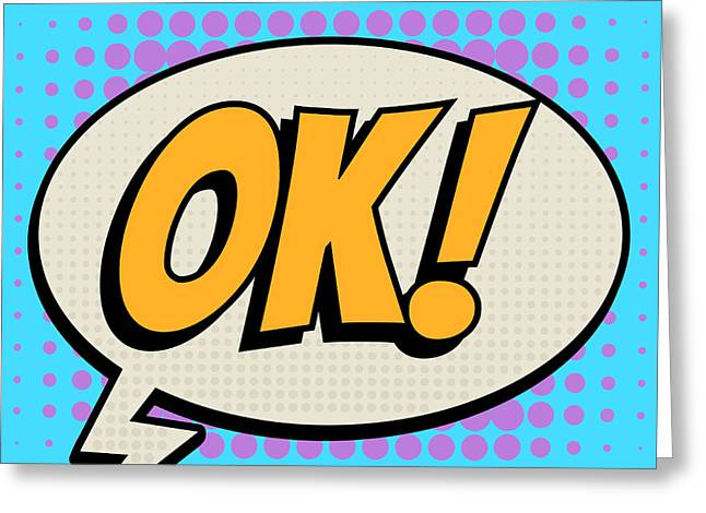 Ok Comic Book Bubble Text Retro Style Greeting Card