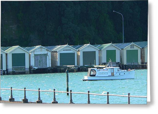 Okahu Bay Historic Boat Sheds Auckland Greeting Card