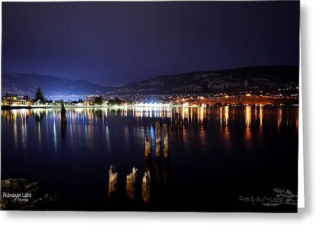 Okanagan Lake At Night Greeting Card