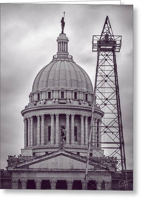 Oklahoma Capital Dome Oil Well- Monochrome Greeting Card by F Leblanc