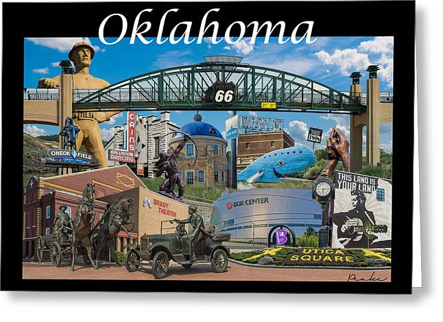 Oklahoma Collage With Words Greeting Card by Roberta Peake