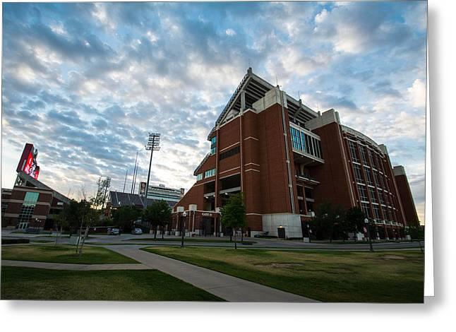 Oklahoma Memorial Stadium Greeting Card by Nathan Hillis