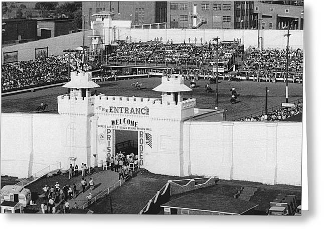 Oklahoma Prison Rodeo Greeting Card by Underwood Archives