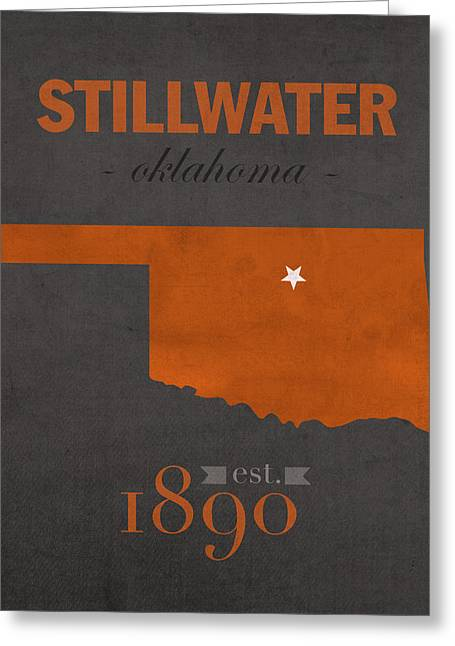 oklahoma state university cowboys stillwater college town state map poster series no 084 greeting card