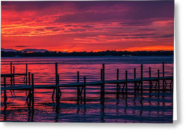 Okoboji Dock Sunset Greeting Card by Lowell Monke
