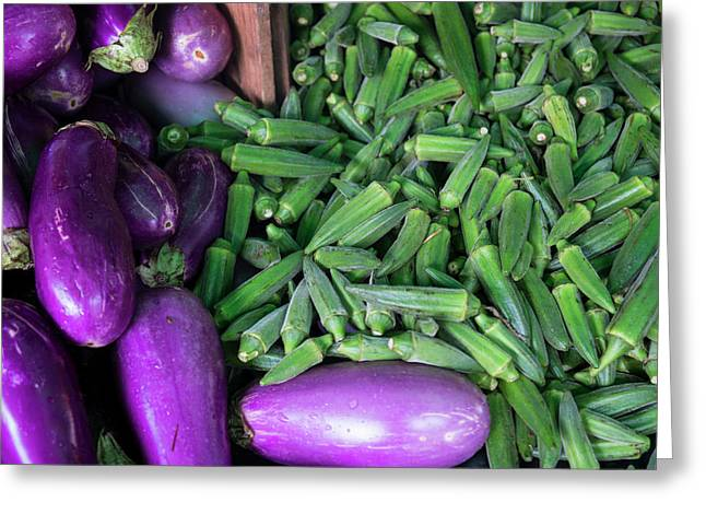 Okra And Eggplant For Sale At A Farmers Greeting Card by Julien Mcroberts