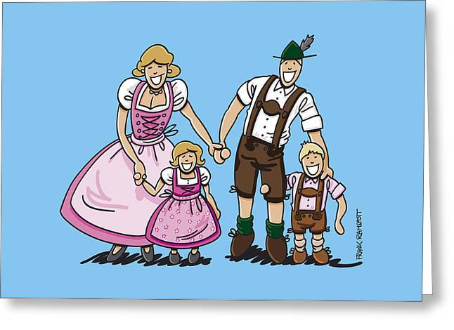 Oktoberfest Family Dirndl And Lederhosen Greeting Card by Frank Ramspott