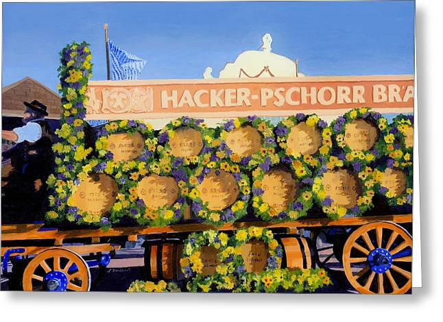 Greeting Card featuring the painting Oktoberfest by Lynne Reichhart