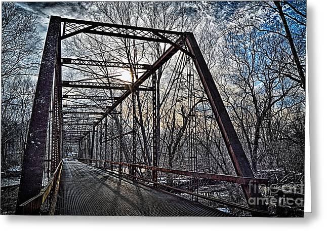 Ol' Iron Bridge Of Dark Hallow Greeting Card by Tim Kravel