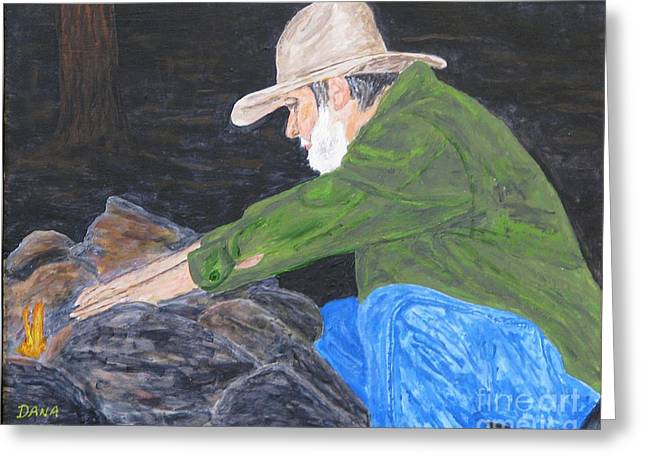 Ol Jim - Ready For The Bedroll Greeting Card by Dana Carroll