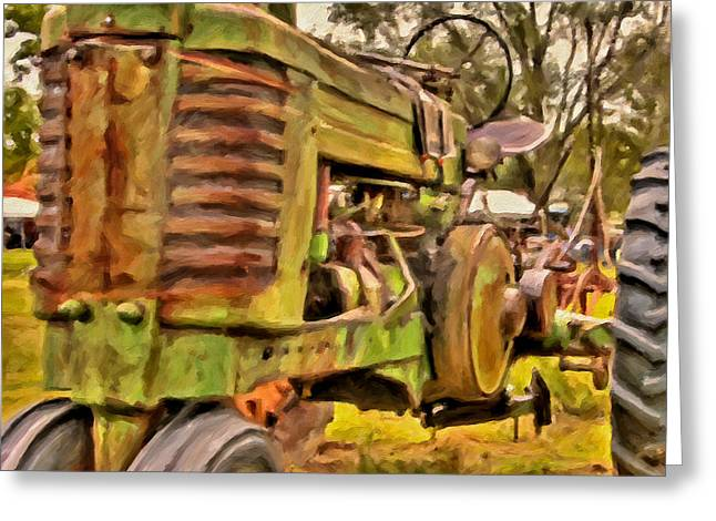 Ol' John Deere Greeting Card by Michael Pickett