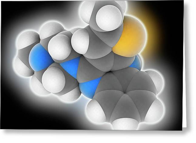 Olanzapine Drug Molecule Greeting Card by Laguna Design