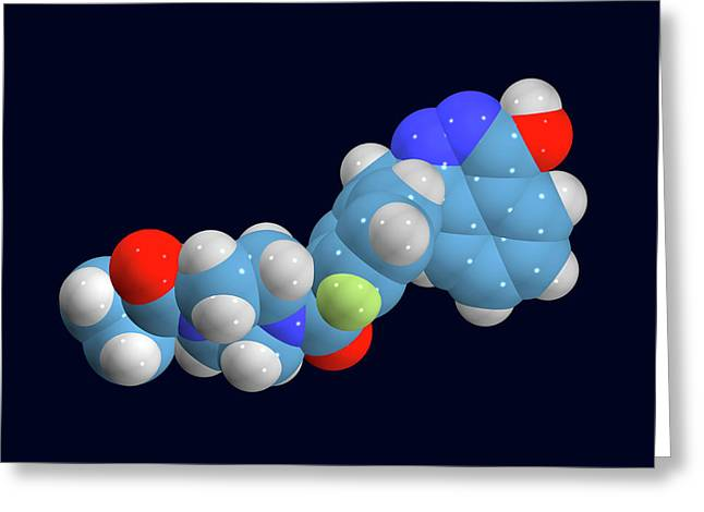 Olaparib Ovarian Cancer Drug Molecule Greeting Card