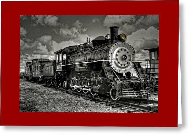 Old 104 Steam Engine Locomotive Greeting Card