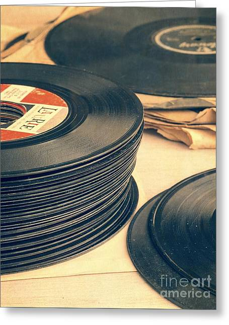 Greeting Card featuring the photograph Old 45s by Edward Fielding