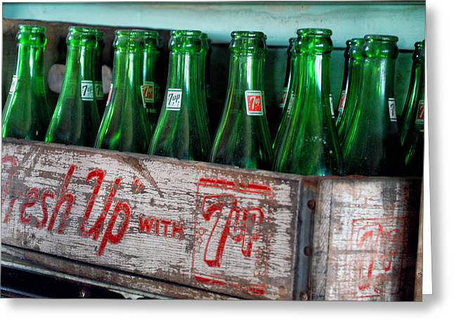 Old 7 Up Bottles Greeting Card by Thomas Woolworth