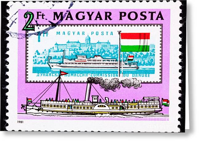Old And New Boats On The Danube By The Buda Castle Greeting Card by Jim Pruitt