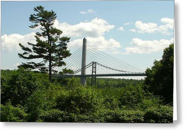 Old And New Bridges Over Penobscot Greeting Card by David Fiske