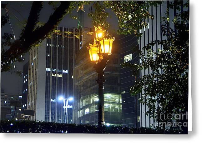 Old And New Lamp Posts - Paulista Avenue Greeting Card by Carlos Alkmin