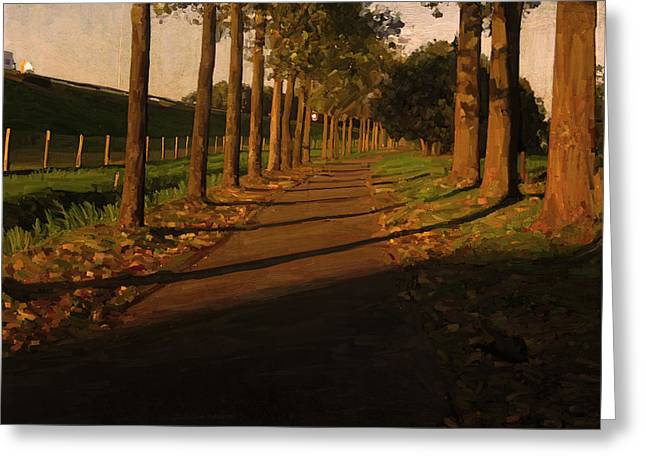 Greeting Card featuring the painting Old And New Road In Tilburg by Nop Briex