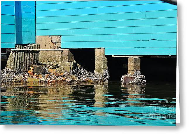 Old Aqua Boat Shed With Aqua Reflections Greeting Card
