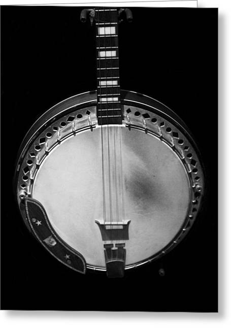 Old Banjo Black And White Greeting Card by Dan Sproul