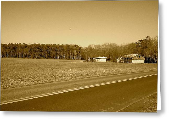 Old Barn And Farm Field In Sepia Greeting Card by Amazing Photographs AKA Christian Wilson