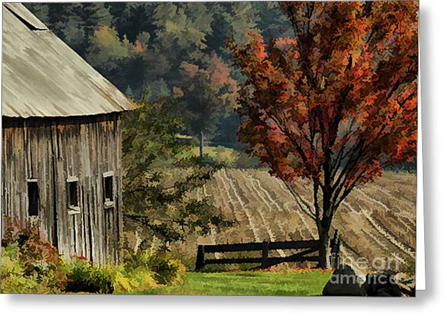 Old Barn And Field Greeting Card