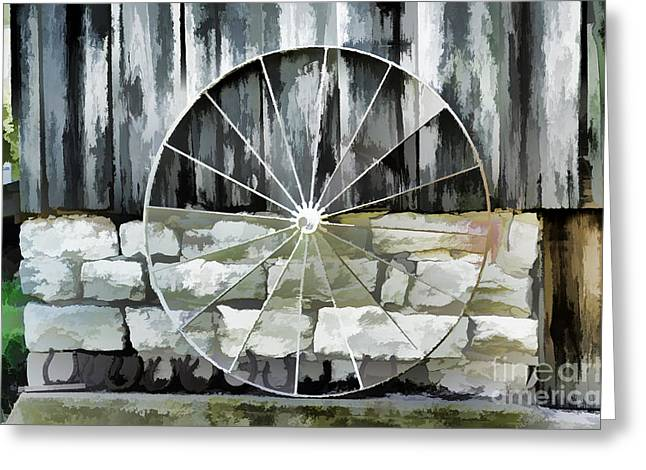 Old Barn And Ford Wheel Greeting Card by Luther   Fine Art