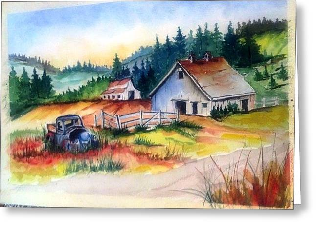 Old Barn And Truck Greeting Card by Richard Benson