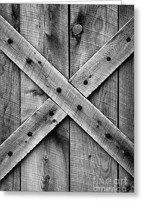 Old Barn Door In Black And White Greeting Card
