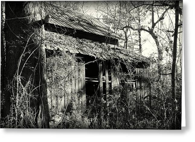 Greeting Card featuring the photograph Old Barn In Black And White by Lisa Wooten